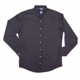 Navy Blue Button Down With Polka Dots