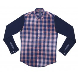 Button Down Check With Contrast Solid Back And Sleeves
