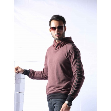 Zipper Shawl Neck With Printed Sleeves